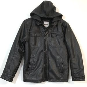 DKNY - Black Faux Leather Moto Jacket